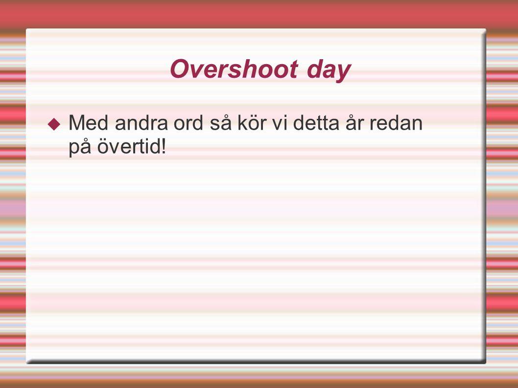 Overshoot day  Med andra ord så kör vi detta år redan på övertid!