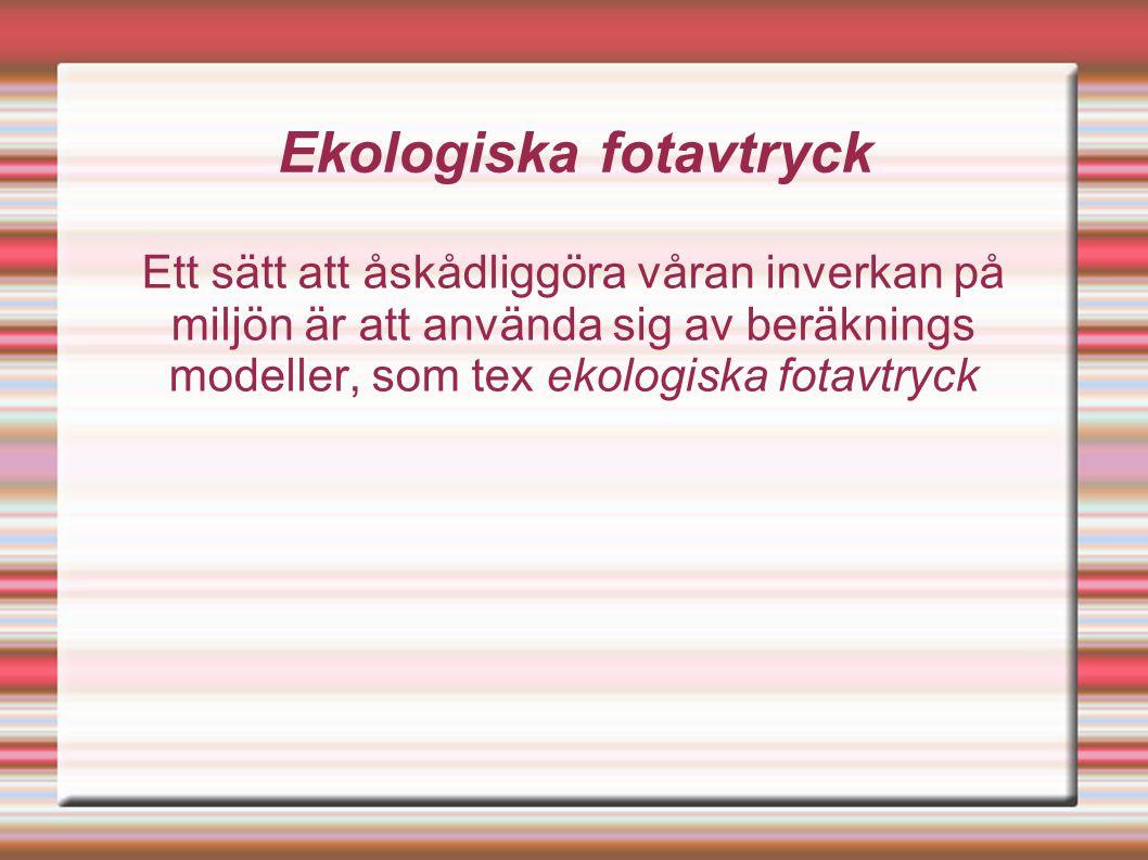 Ekologiska fotavtryck En genomsnitts svensk använder ungefär en yta som motsvarar 10 fotbollsplaner.