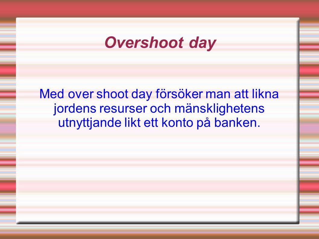 Overshoot day Med over shoot day försöker man att likna jordens resurser och mänsklighetens utnyttjande likt ett konto på banken.