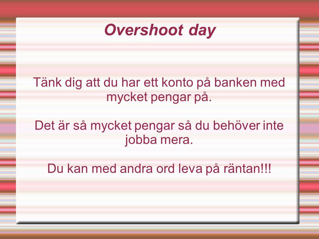Overshoot day Tänk dig att du har ett konto på banken med mycket pengar på.