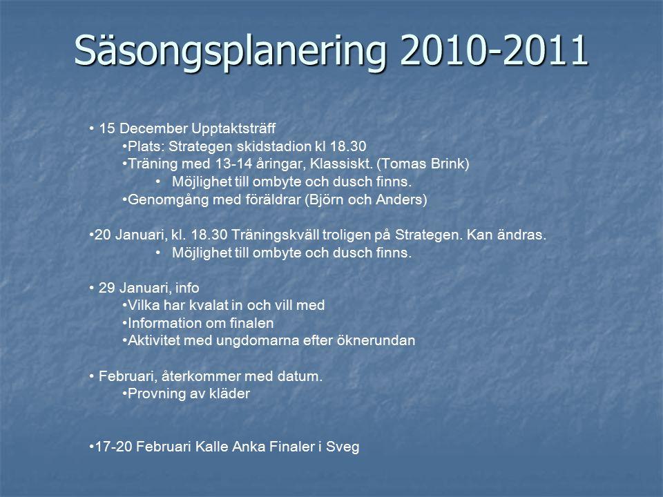 Säsongsplanering 2010-2011 15 December Upptaktsträff Plats: Strategen skidstadion kl 18.30 Träning med 13-14 åringar, Klassiskt.