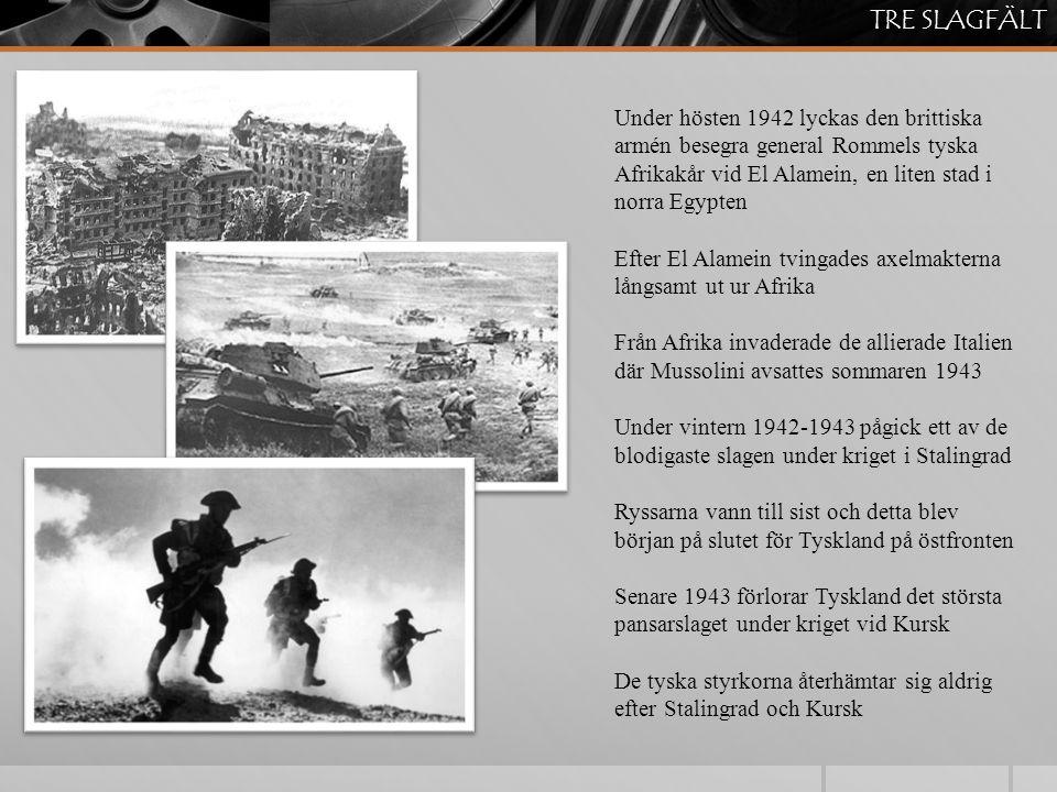 Den 6 juni 1944 var dagen då de allierade invaderade franska Normandie under kodnamnet Operation Overlord 130'000 trupper landsätts den första dagen, den så kallade D- dagen eller Dagen D Brittiska, kanadensiska och amerikanska soldater går iland på fem ställen De allierade lyckas säkra kusten och efter en månad har de allierade en miljon man i Frankrike När väl invasionen lyckats började de allierade att befria Frankrike och redan i augusti befrias Paris DAGEN D