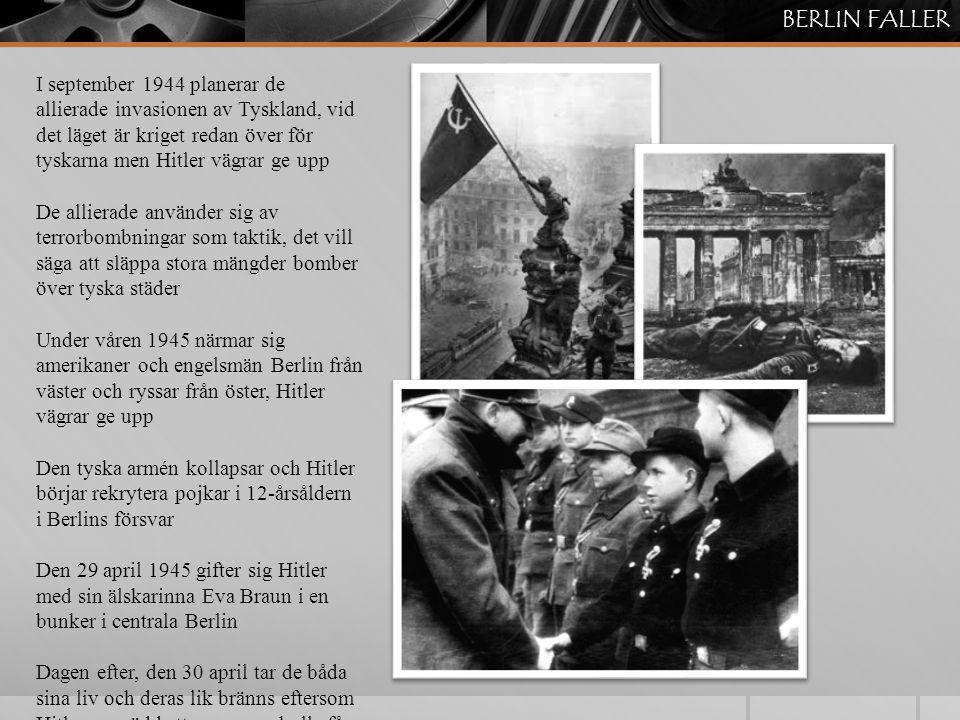 TOKYO FALLER Efter Okinawa förbereder USA invasionen av Japan Man vet att japanerna kommer att kämpa in i det sista och man ställs inför ett dilemma Ska man offra de hundratusentals amerikanska soldater som förmodligen kommer att dö under invasionen Eller ska man använda sitt nya vapen, atombomben På morgonen den 6 augusti 1945 släpps den första atombomben över Hiroshima, 80'000 japaner dör Japan vägrar fortfarande att ge upp Den 9 augusti släpps ytterligare en atombomb över Nagasaki Japan kapitulerar nu villkorslöst och i och med det är kriget i Stilla havet över