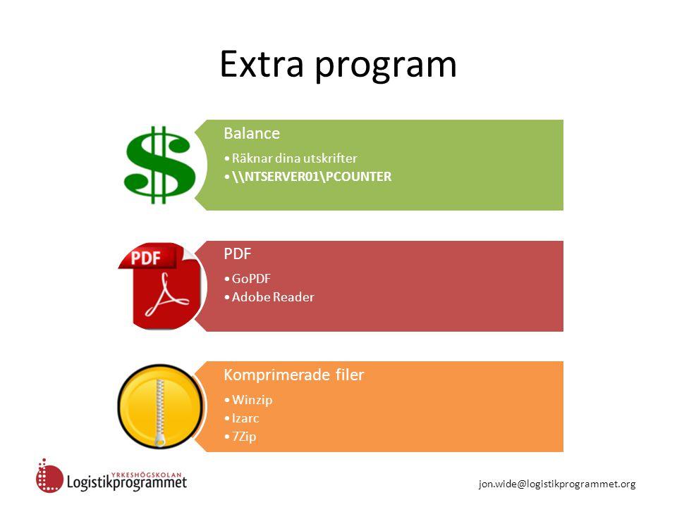 Extra program Balance Räknar dina utskrifter \\NTSERVER01\PCOUNTER PDF GoPDF Adobe Reader Komprimerade filer Winzip Izarc 7Zip jon.wide@logistikprogrammet.org