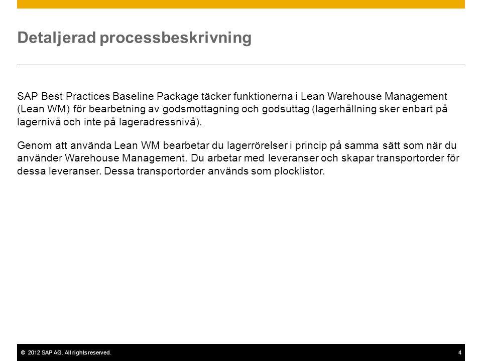 ©2012 SAP AG. All rights reserved.4 Detaljerad processbeskrivning SAP Best Practices Baseline Package täcker funktionerna i Lean Warehouse Management