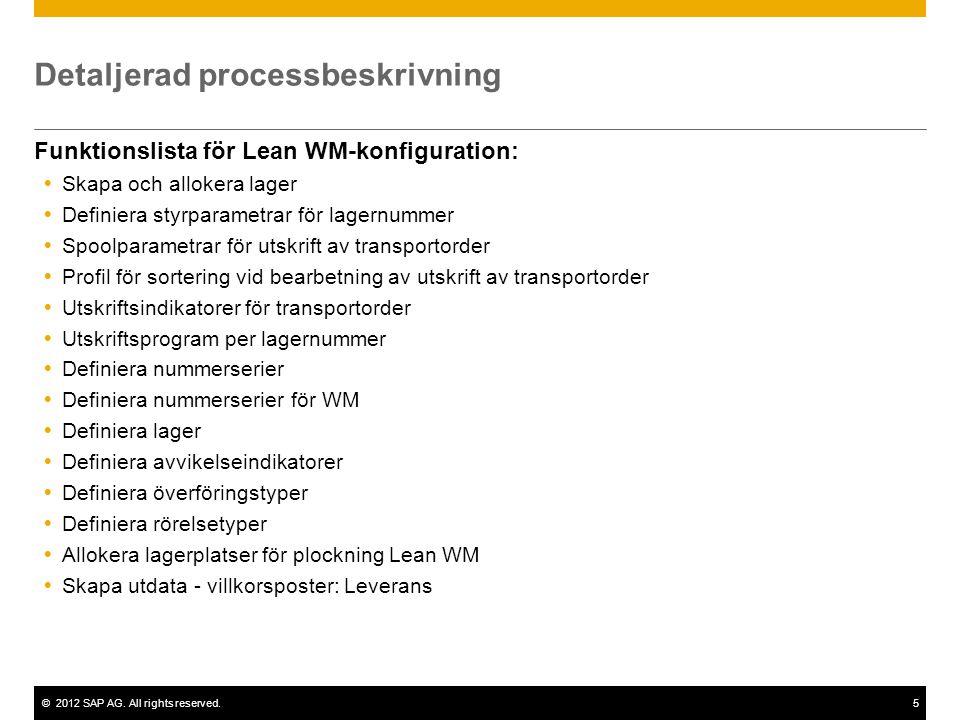 ©2012 SAP AG. All rights reserved.5 Detaljerad processbeskrivning Funktionslista för Lean WM-konfiguration:  Skapa och allokera lager  Definiera sty