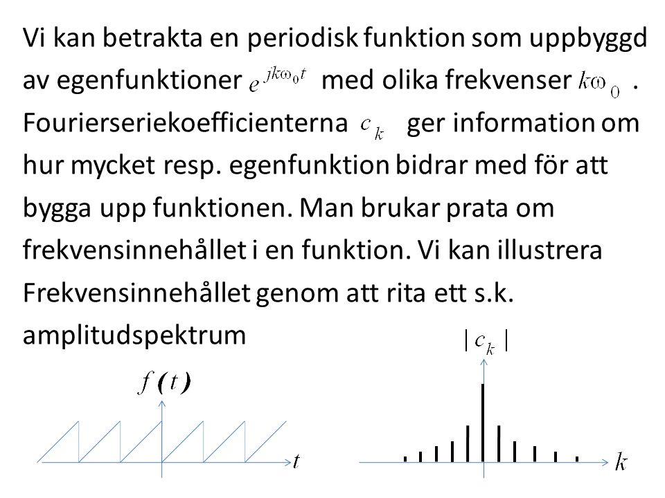 Vi kan betrakta en periodisk funktion som uppbyggd av egenfunktioner med olika frekvenser. Fourierseriekoefficienterna ger information om hur mycket r