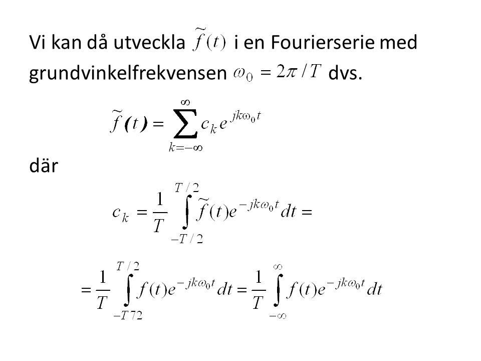 Vi kan då utveckla i en Fourierserie med grundvinkelfrekvensen dvs. där