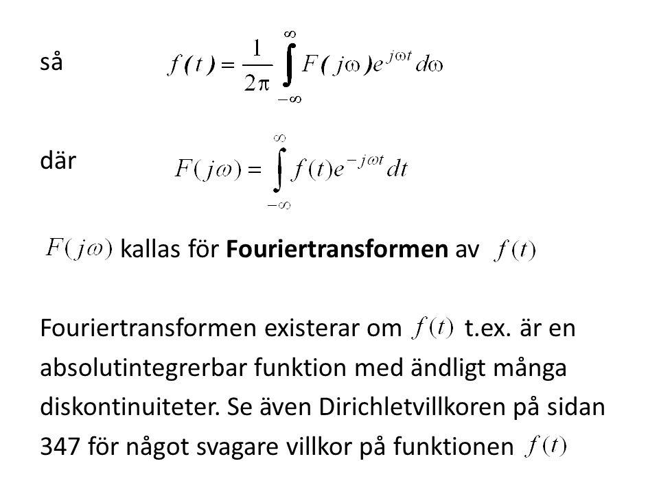 så där kallas för Fouriertransformen av Fouriertransformen existerar om t.ex. är en absolutintegrerbar funktion med ändligt många diskontinuiteter. Se