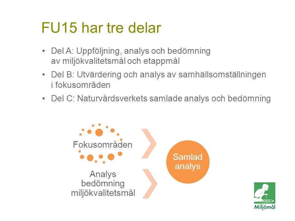 Del A: Uppföljning, analys och bedömning av miljökvalitetsmål och etappmål Del B: Utvärdering och analys av samhällsomställningen i fokusområden Del C: Naturvårdsverkets samlade analys och bedömning Fokusområden Analys bedömning miljökvalitetsmål Samlad analys FU15 har tre delar