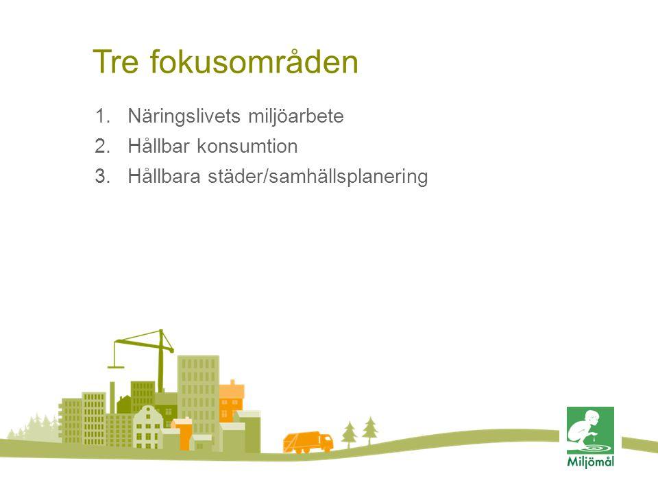 Tre fokusområden 1.Näringslivets miljöarbete 2.Hållbar konsumtion 3.Hållbara städer/samhällsplanering