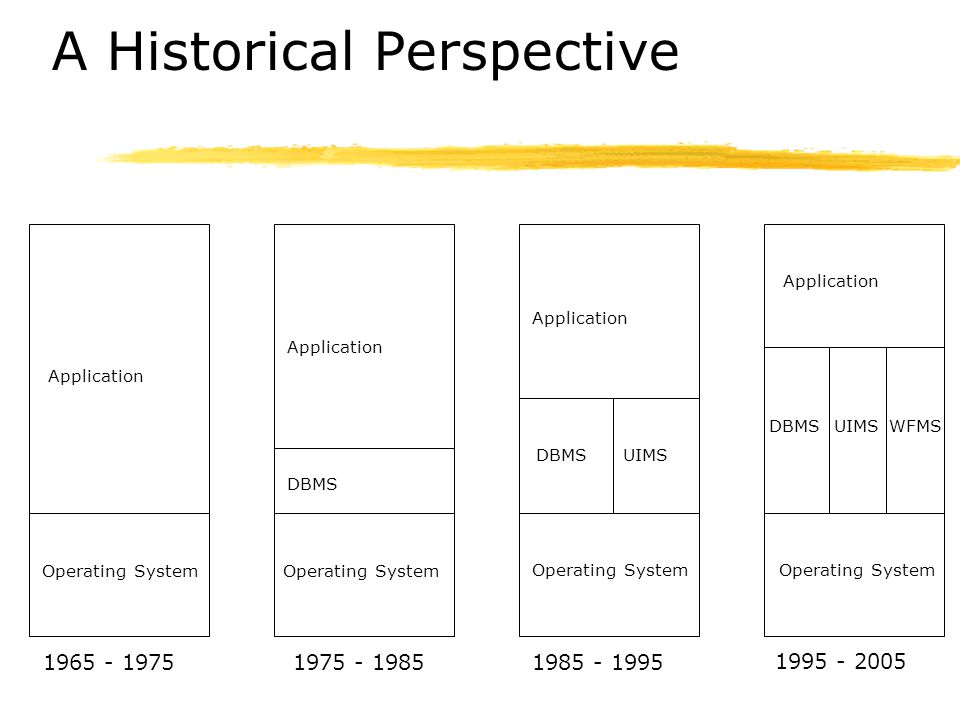 A Historical Perspective Operating System Application 1965 - 1975 Application Operating System DBMS 1975 - 1985 Application Operating System DBMSUIMS