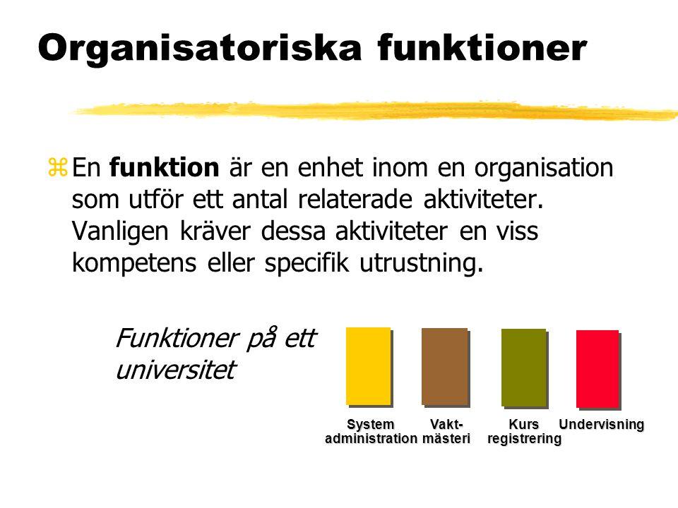 Organisatoriska funktioner zEn funktion är en enhet inom en organisation som utför ett antal relaterade aktiviteter. Vanligen kräver dessa aktiviteter