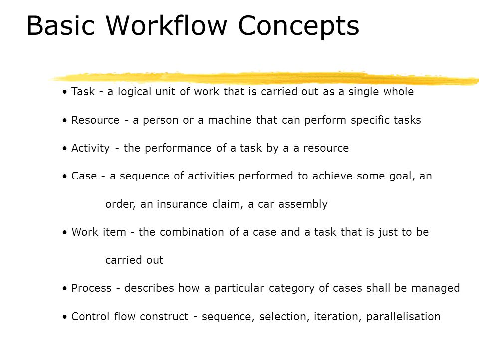 Basic Workflow Concepts Task Activity Work Item Case Process Resource Allocation Resource Type