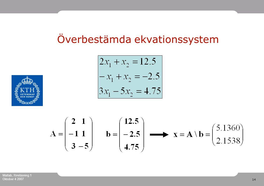 14 Matlab, föreläsning 1 Oktober 4 2007 Överbestämda ekvationssystem
