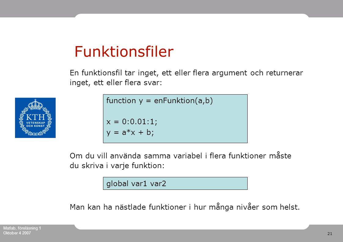 21 Matlab, föreläsning 1 Oktober 4 2007 Funktionsfiler function y = enFunktion(a,b) x = 0:0.01:1; y = a*x + b; En funktionsfil tar inget, ett eller flera argument och returnerar inget, ett eller flera svar: Om du vill använda samma variabel i flera funktioner måste du skriva i varje funktion: global var1 var2 Man kan ha nästlade funktioner i hur många nivåer som helst.