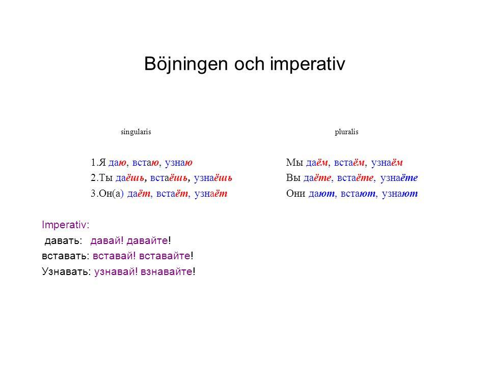 Böjningen och imperativ singularis pluralis 1.Я даю, встаю, узнаюМы даём, встаём, узнаём 2.Ты даёшь, встаёшь, узнаёшьВы даёте, встаёте, узнаёте 3.Он(а) даёт, встаёт, узнаётОни дают, встают, узнают Imperativ: давать:давай.