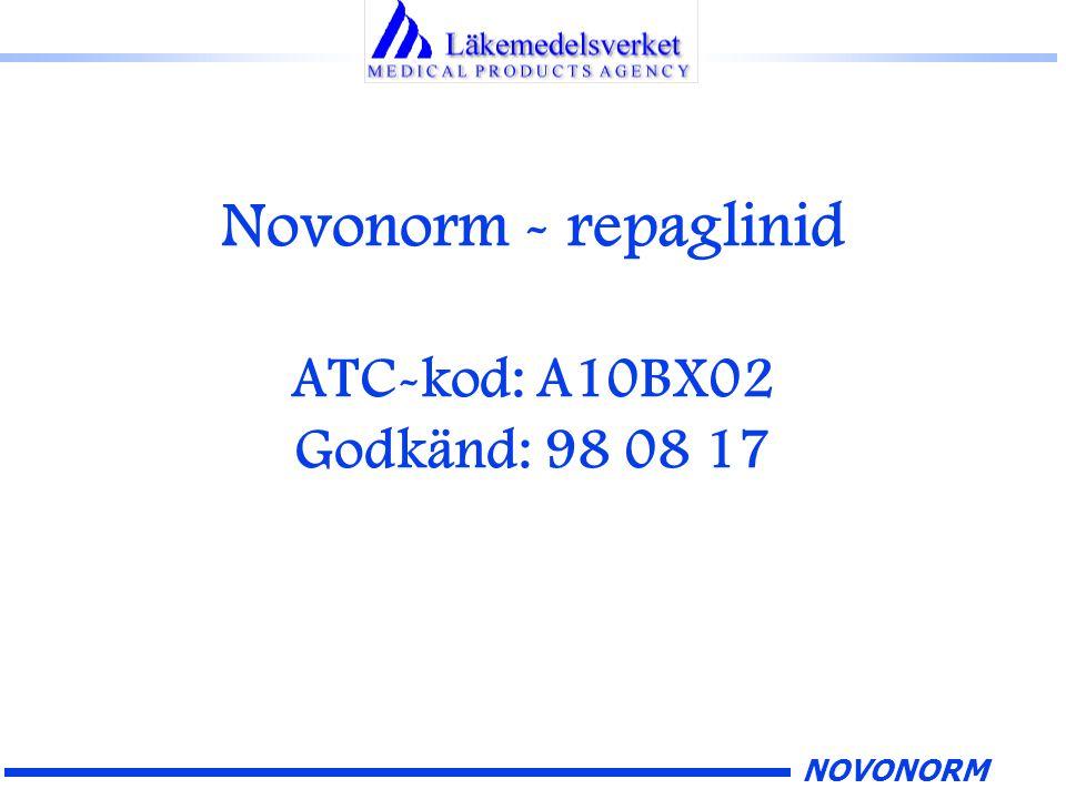 NOVONORM Novonorm - repaglinid ATC-kod: A10BX02 Godkänd: 98 08 17