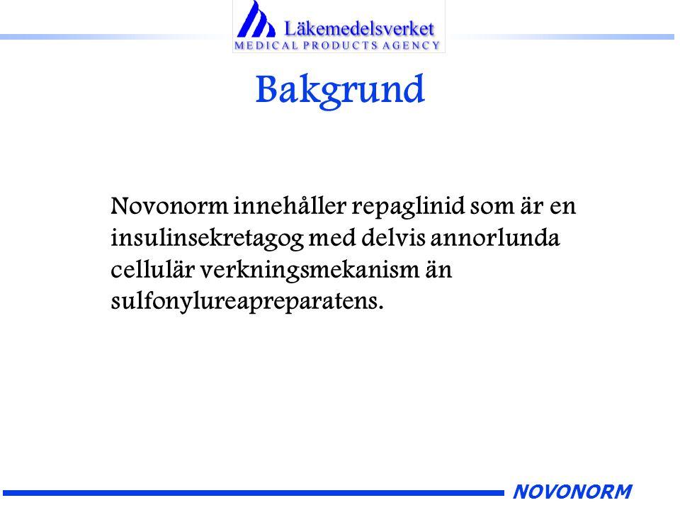 NOVONORM Bakgrund Novonorm innehåller repaglinid som är en insulinsekretagog med delvis annorlunda cellulär verkningsmekanism än sulfonylureapreparate
