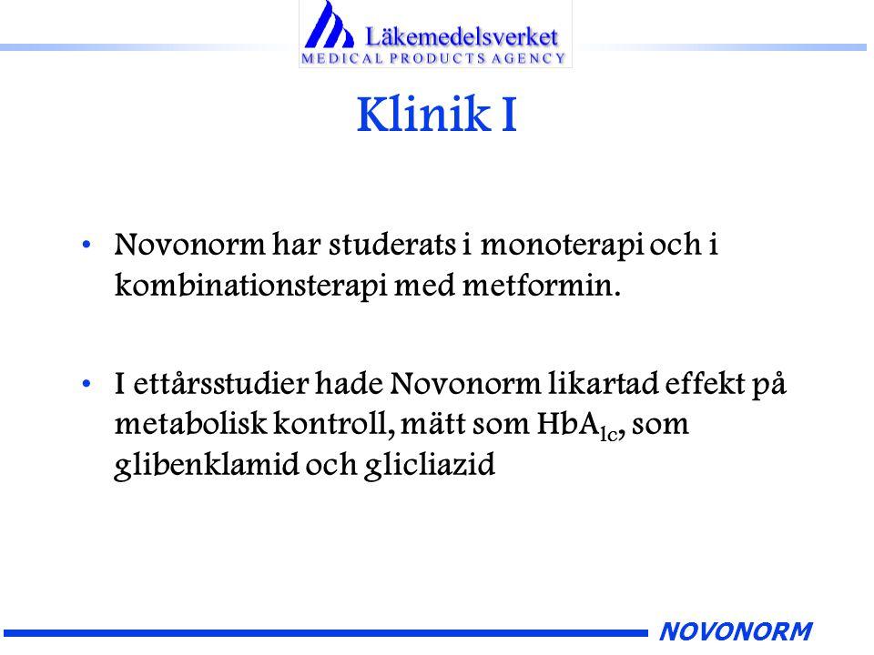 NOVONORM Klinik I Novonorm har studerats i monoterapi och i kombinationsterapi med metformin. I ettårsstudier hade Novonorm likartad effekt på metabol