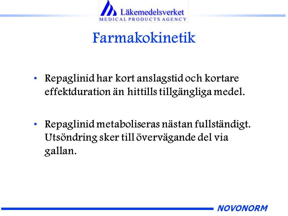 NOVONORM Farmakokinetik Repaglinid har kort anslagstid och kortare effektduration än hittills tillgängliga medel. Repaglinid metaboliseras nästan full