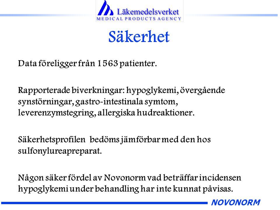 NOVONORM Säkerhet Data föreligger från 1563 patienter. Rapporterade biverkningar: hypoglykemi, övergående synstörningar, gastro-intestinala symtom, le