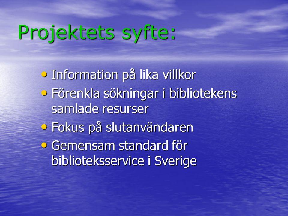 Projektets syfte: Information på lika villkor Information på lika villkor Förenkla sökningar i bibliotekens samlade resurser Förenkla sökningar i bibl