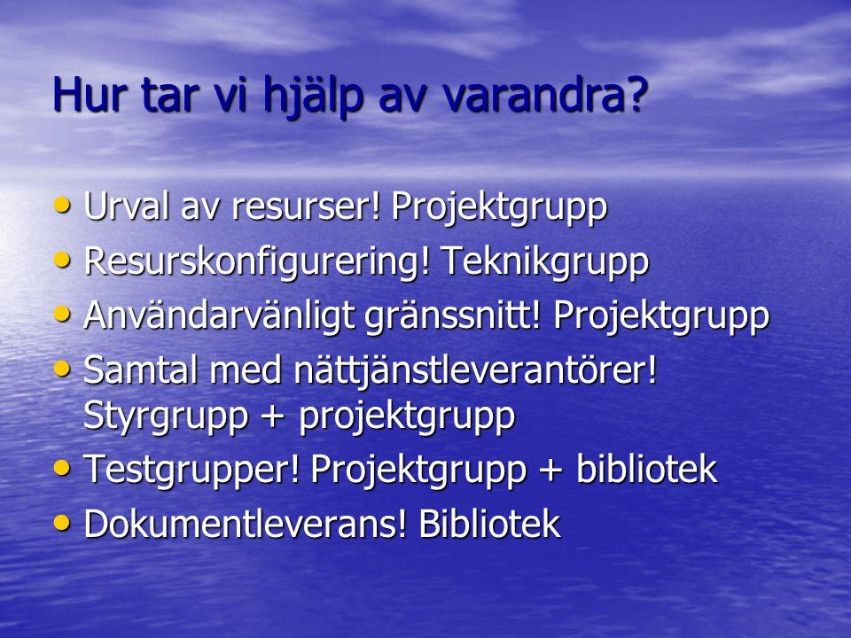 Hur tar vi hjälp av varandra? Urval av resurser! Projektgrupp Urval av resurser! Projektgrupp Resurskonfigurering! Teknikgrupp Resurskonfigurering! Te