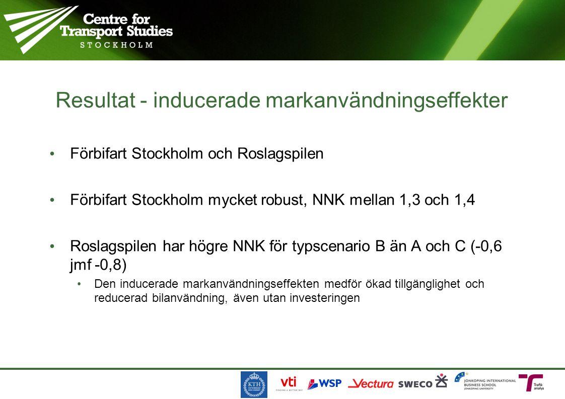 Förbifart Stockholm och Roslagspilen Förbifart Stockholm mycket robust, NNK mellan 1,3 och 1,4 Roslagspilen har högre NNK för typscenario B än A och C