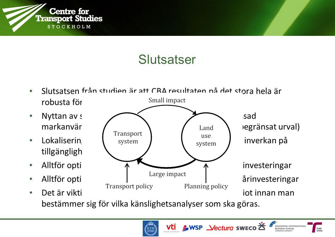 Slutsatsen från studien är att CBA resultaten på det stora hela är robusta för olika antaganden om förutsättningar Nyttan av spårinvesteringar påverka