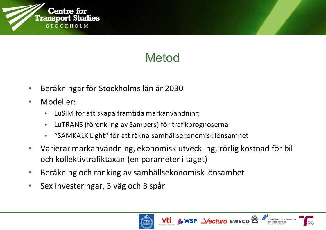 """Beräkningar för Stockholms län år 2030 Modeller: LuSIM för att skapa framtida markanvändning LuTRANS (förenkling av Sampers) för trafikprognoserna """"SA"""