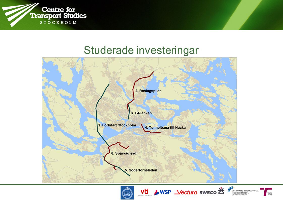 Scenarier, markanvändning Transport network No-Built (no investment) Built (investment) Land use Simulated no investment Simulated with investment C A B