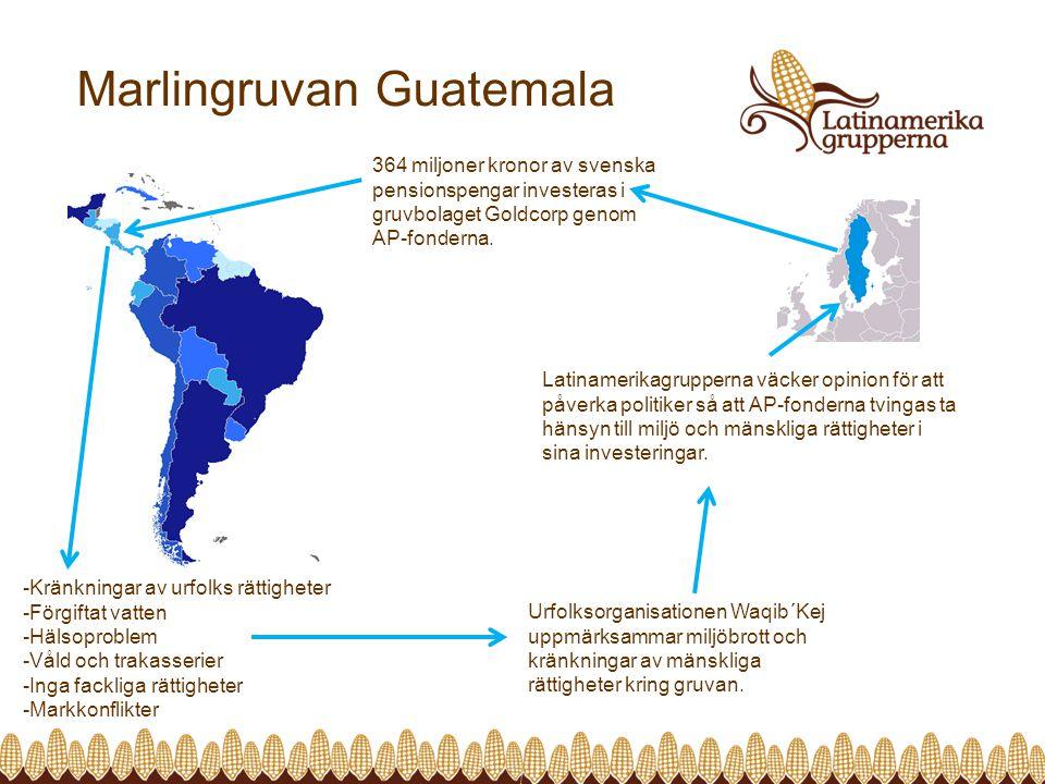 Marlingruvan Guatemala 364 miljoner kronor av svenska pensionspengar investeras i gruvbolaget Goldcorp genom AP-fonderna.