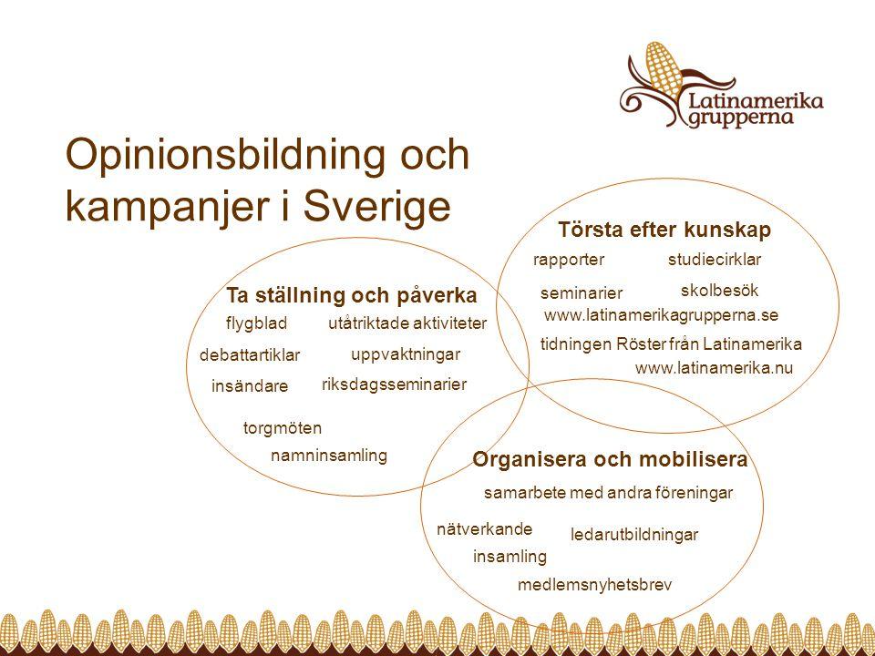 Opinionsbildning och kampanjer i Sverige Törsta efter kunskap www.latinamerikagrupperna.se rapporter studiecirklar www.latinamerika.nu seminarier tidn