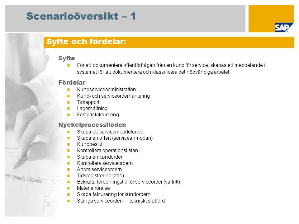 Scenarioöversikt – 1 Syfte För att dokumentera offertförfrågan från en kund för service, skapas ett meddelande i systemet för att dokumentera och klassificera det nödvändiga arbetet.