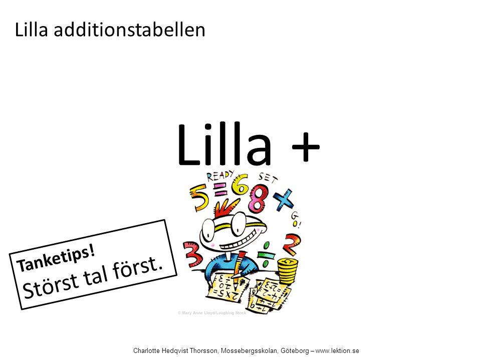 Lilla + Lilla additionstabellen Tanketips! Störst tal först. Charlotte Hedqvist Thorsson, Mossebergsskolan, Göteborg – www.lektion.se