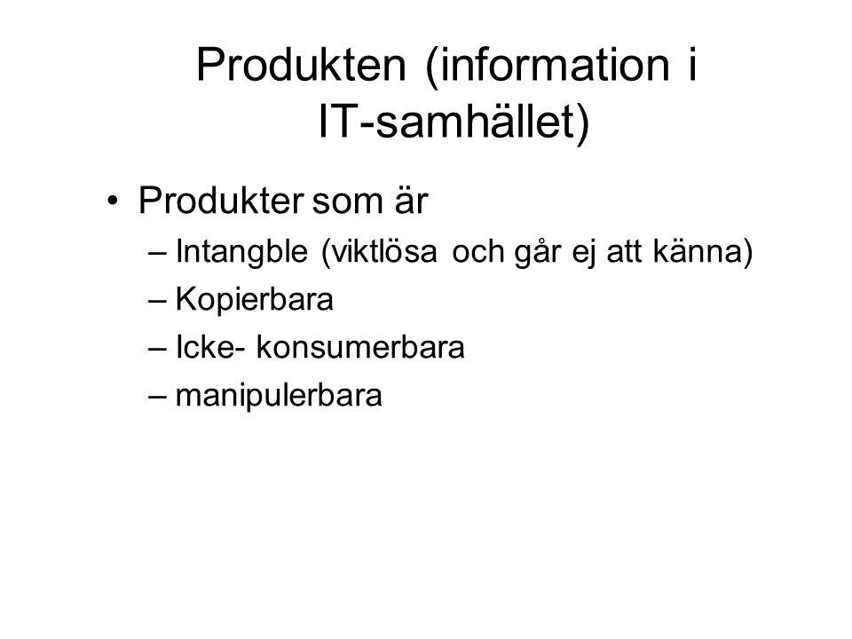 Produkten (information i IT-samhället) Produkter som är –Intangble (viktlösa och går ej att känna) –Kopierbara –Icke- konsumerbara –manipulerbara