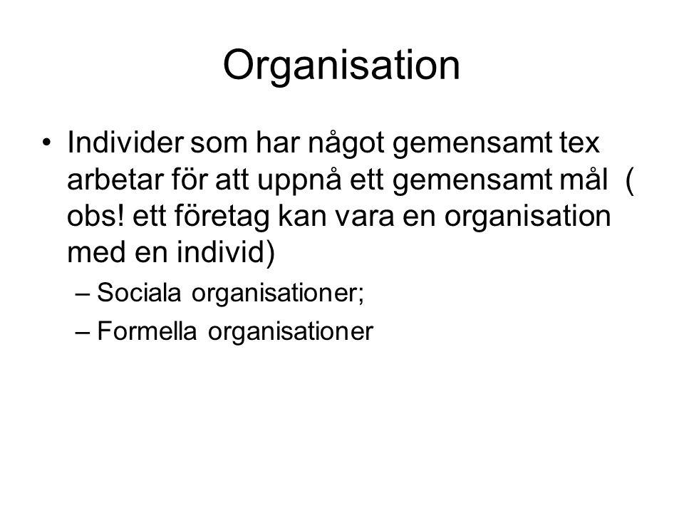Organisation Individer som har något gemensamt tex arbetar för att uppnå ett gemensamt mål ( obs! ett företag kan vara en organisation med en individ)