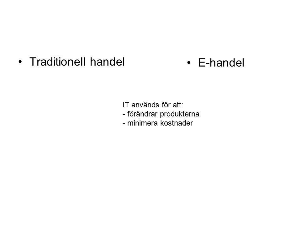 Traditionell handel E-handel IT används för att: - förändrar produkterna - minimera kostnader
