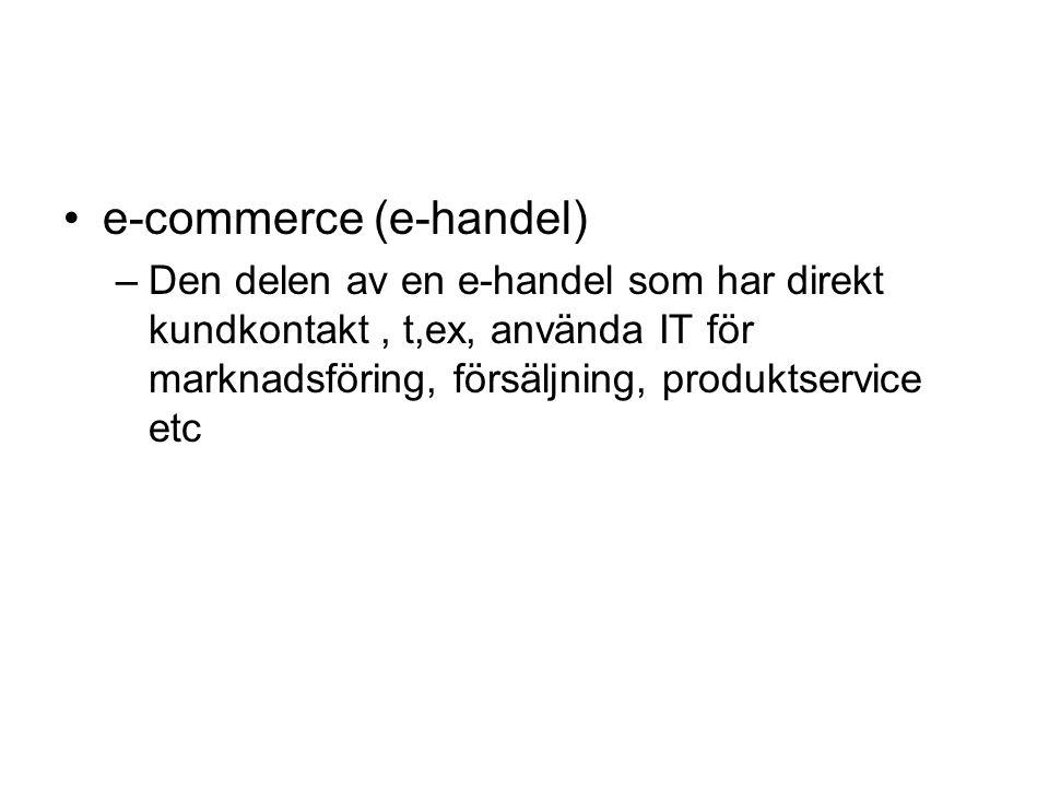e-commerce (e-handel) –Den delen av en e-handel som har direkt kundkontakt, t,ex, använda IT för marknadsföring, försäljning, produktservice etc