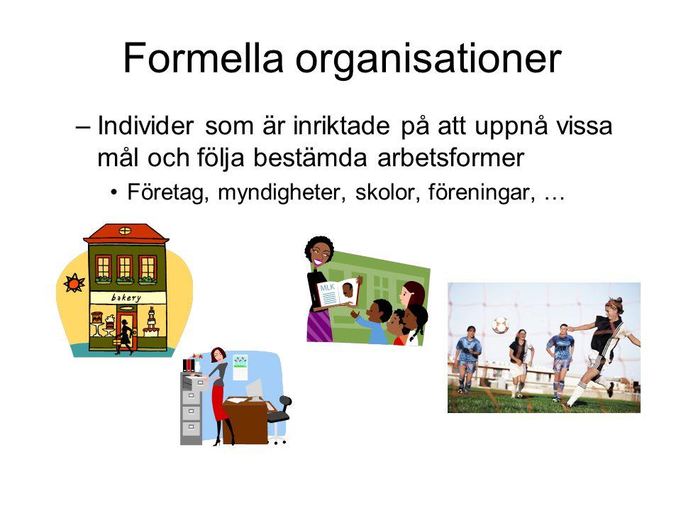 Formella organisationer –Individer som är inriktade på att uppnå vissa mål och följa bestämda arbetsformer Företag, myndigheter, skolor, föreningar, …
