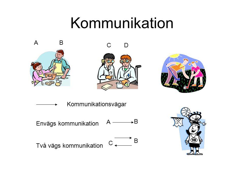 Kommunikation Envägs kommunikation Två vägs kommunikation AB A B CD C B Kommunikationsvägar
