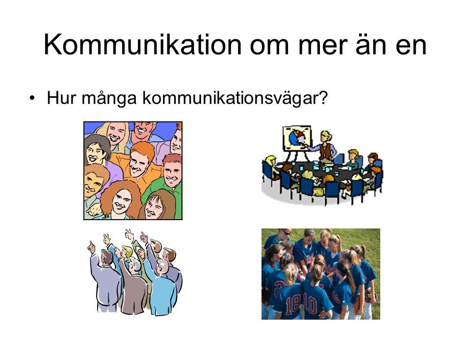 Kommunikation om mer än en Hur många kommunikationsvägar?