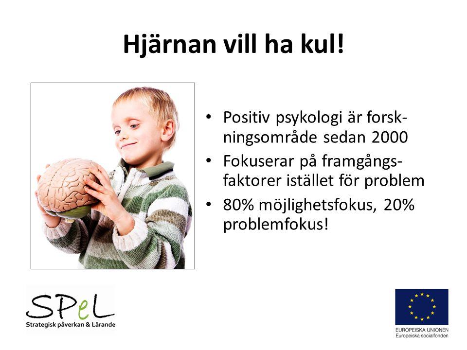 Hjärnan vill ha kul! Positiv psykologi är forsk- ningsområde sedan 2000 Fokuserar på framgångs- faktorer istället för problem 80% möjlighetsfokus, 20%