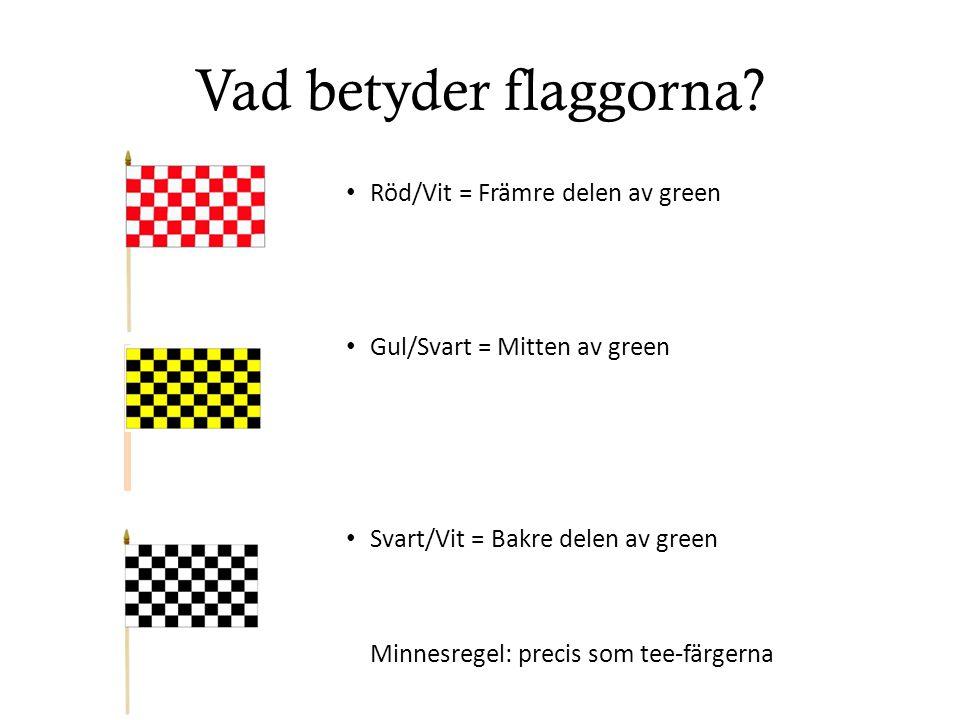 Vad betyder flaggorna? Röd/Vit = Främre delen av green Gul/Svart = Mitten av green Svart/Vit = Bakre delen av green Minnesregel: precis som tee-färger