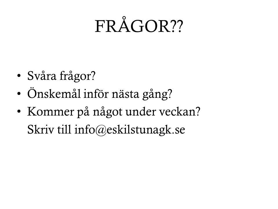 FRÅGOR?? Svåra frågor? Önskemål inför nästa gång? Kommer på något under veckan? Skriv till info@eskilstunagk.se