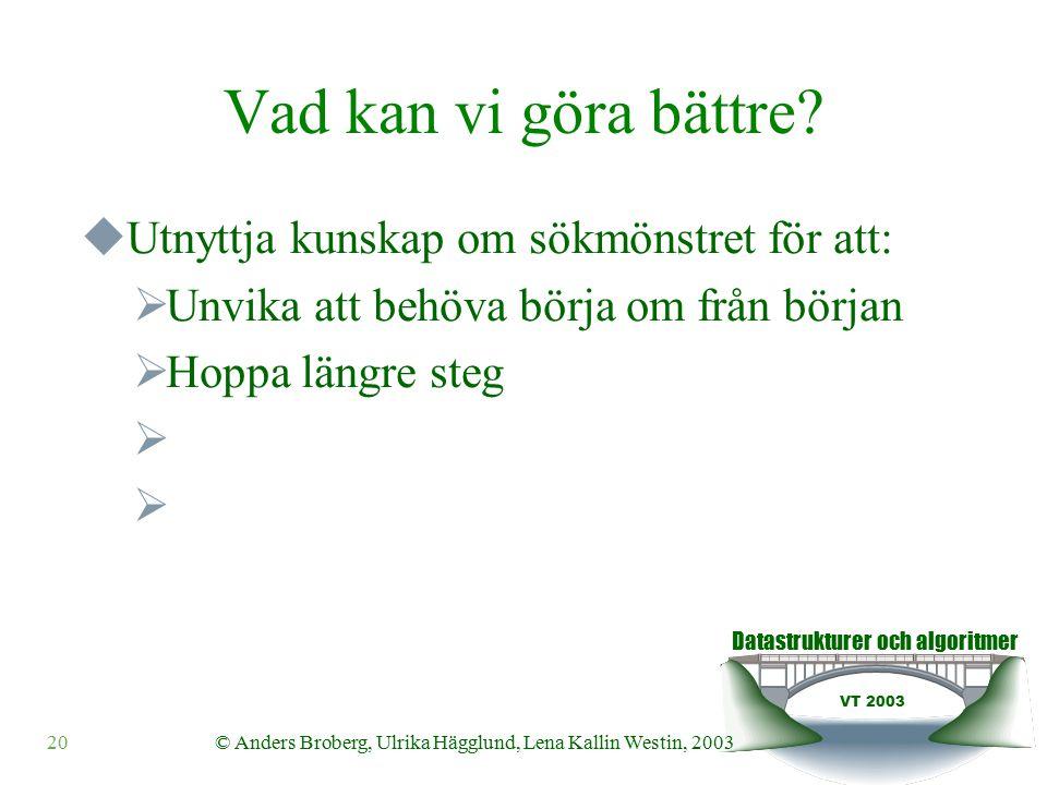Datastrukturer och algoritmer VT 2003 © Anders Broberg, Ulrika Hägglund, Lena Kallin Westin, 200320 Vad kan vi göra bättre.