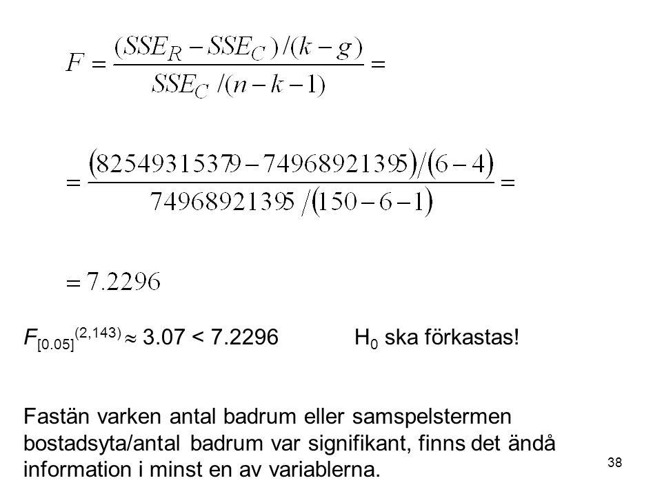 38 F [0.05] (2,143)  3.07 < 7.2296H 0 ska förkastas.