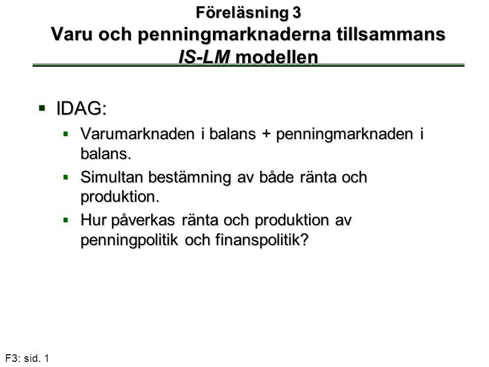 F3: sid. 1 Föreläsning 3 Varu och penningmarknaderna tillsammans IS-LM modellen  IDAG:  Varumarknaden i balans + penningmarknaden i balans.  Simult