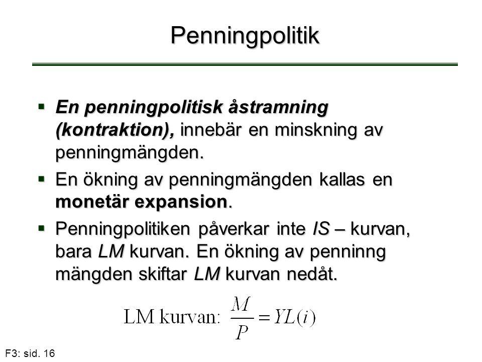 F3: sid. 16 Penningpolitik  En penningpolitisk åstramning (kontraktion), innebär en minskning av penningmängden.  En ökning av penningmängden kallas
